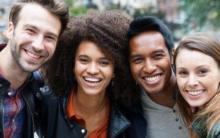 Portrait of multi-ethnic friends in New york